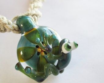 Frog - Hand Blown Boro Glass Pendant with Lampwork Green Tree Frog on Handmade Natural Hemp Twist Necklace - OOAK - One of a Kind