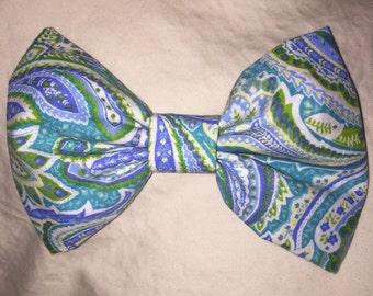 Blue Paisley HairBow Headband