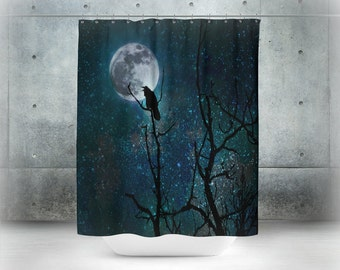 Gothic Shower Curtain Raven Bird  Moon Tree