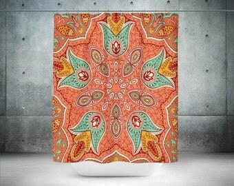 Shower Curtain , Boho Chic,  Mandala Coral Turquoise