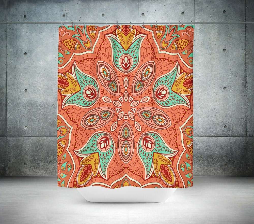 shower curtain boho chic mandala coral turquoise