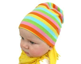 Baby Girl Beanie, RAINBOW BRITE Striped Slouchy  Hat, Cotton Lycra Jersey Knit, newborn to Toddler. pink, yellow, blue, green, orange