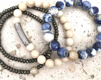 Sodalite Bracelet- Pyrite Bracelet- Fossil Stone Bracelet- Bracelet Stack for Prosperity- Stack Bracelet Set for Success- Graduation Gift