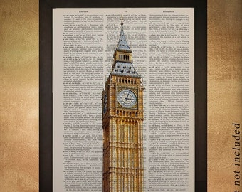 SALE - Ships Aug 27 - Big Ben Dictionary Art Print, London Architecture England UK Britain Tower Building Travel Gift Ideas da527