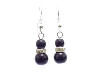 Black earrings, beaded earrings, pearl earrings, gift for her, wedding jewellery, black pearl earrings, bridesmaid earrings