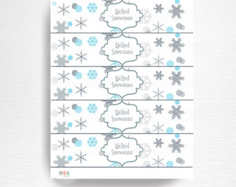 melted snow birthday party water bottle labels instant. Black Bedroom Furniture Sets. Home Design Ideas
