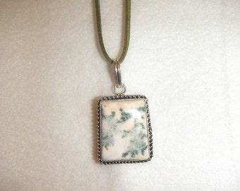 CLEARANCE - Square Moss Agate pendant/necklace set in .925 sterling silver (P535)