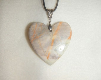 PAY IT FORWARD - Large Gray Heart-shaped Picasso Jasper pendant necklace (JO301)