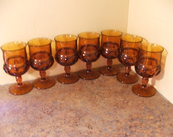 "Vintage Set of Eight (8) Tiffin Amber Kings Crown Thumbprint Goblets - 5.75"" tall"