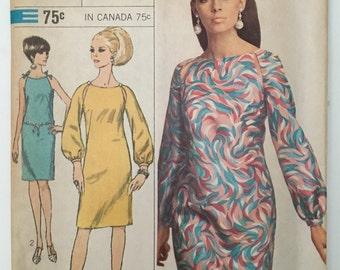 Simplicity 7076 1960's Misses Sheath Dress Peekabo Shoulders Vintage Pattern Size 14 Bust 34