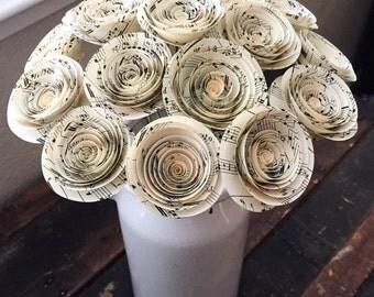 Paper Flowers - Paper Anniversary - Music Sheet Flowers - Music Teacher Gift - Wedding Flowers - Home Decor - Baby Shower - Centerpieces