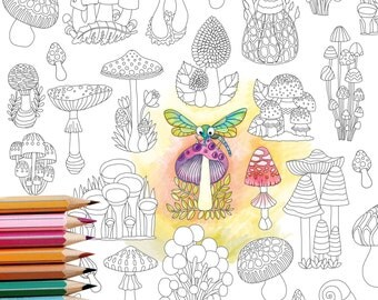 Coloring Page INSTANT DOWNLOAD Mushrooms