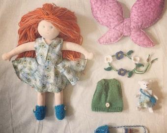 Deluxe 13 inch (33cm) Waldorf Doll Custom Doll Handmade By Silvercap.