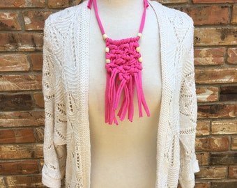 Hot Pink Beaded MACRAME Necklace