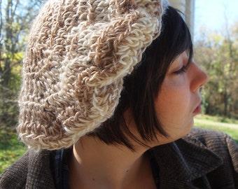 Elegant light cream and tan beret