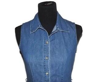 1990's Vintage Denim-Midi-Dress-Gap