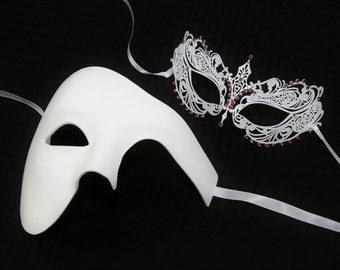 His and Her Classic White Couples Mask Set, Venetian Masquerade Mask, Phantom of the Opera Inspired, Mardi Gras. PP009WH+BA001PUWH (Purple)