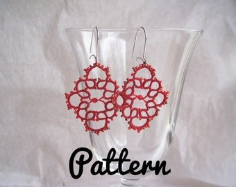 Tatting pattern earrings in tatting shuttles or tatting needle tatted lace - craft jewelry - DIY lace jewelry - frivolity pattern tutorial