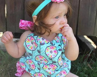 Sale!! Sun suit Romper. Baby Romper. Floral Rompers. Baby girl Rompers. FREE HEADBAND W/ PURCHASE!