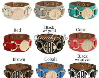 Monogram Cuff Bracelets! Great Colors! Choose Monogram Color and Style! Makes a GREAT gift!!!