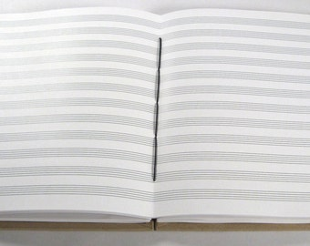Music Journal (12 Staves): 7x8.5 Handmade Coptic-Bound Music Staff Paper Book for Composers and Musicians. Size Alto.