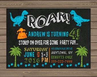 Dinosaur ROAR! Chalkboard Birthday Invitation