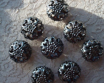 8 Giant Filigree Black Beads. Rondelle Shape. Gun Metal Black Filigree Balls. 23x12mm. Beautiful and Unique. ~USPS Ship Rates/Oregon