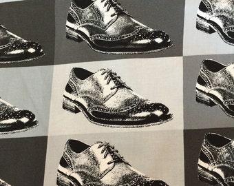 Dapper Prints Grayscale Wingtip Shoes by Luke for Moda Fabrics