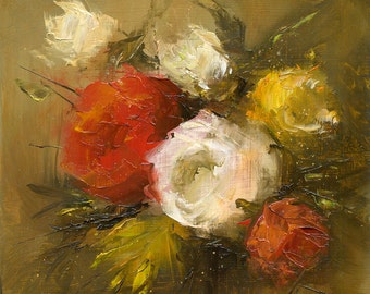 Small Painting 6,3x6,3 - ORIGINAL OIL Painting, Flowers, Floral, UNFRAMED, Painting by Bruno M Carlos