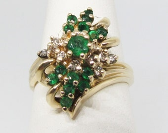 Vintage yellow gold, Emerald and diamond ring.