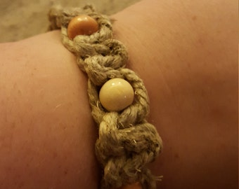 Hemp and Wood Bead Bracelet