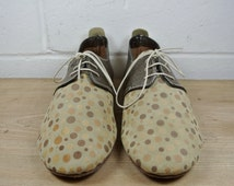 Size UK7.5 US11 EU42:Ladies Handmade Oxford Style shoe.  Textured gold and suede dot leather. All hand constructed.