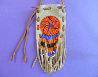 Fringed, beaded leather pouch,small for necklace or with shoulder strape.