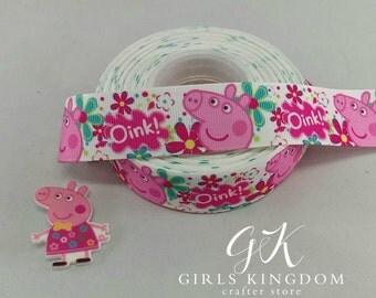 pepa pig ribbon + pepa pig resin