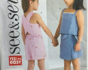 Butterick 4159 See & Sew Children's Girl Top, Skort and Shorts Sewing Pattern Size Girl's 2-8