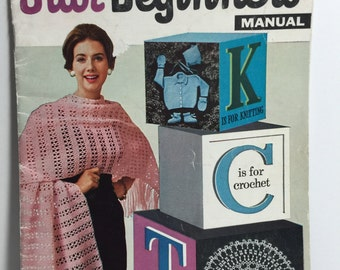 Vintage 1950's Star Beginners  Manual Book Knit, Crochet and Tatting