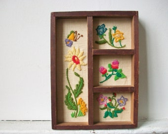 Floral Crewel Embroidery Framed Art, Vintage Needlepoint Stitch Divided Wood Frame Art with Mixed Flowers
