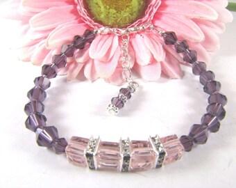 Purple and Pink Cube Swarovski Bead Bracelet