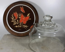 Cheese Board and Dome, Mid Century, LaBrasserie by Himark, Butterfly Tile,  Brown & Orange, Cheese Board with Heavy Glass Dome, Butterfly