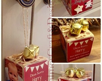 Hanging photo block for the Christmas tree. Personalised photo cube, gold or silver bells. SPECIAL OFFER!!