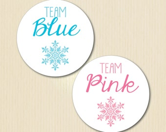 Gender Reveal Party Sticker, Team Blue, Team Pink, Winter Baby Shower, Snowflake, He or She, Baby Its Cold, I Voted, Team Boy, Team Girl