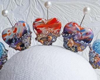 Beachy Heart Focal in You Choose Your Sunset by Sabrina Koebel Handmade Lampwork Beads