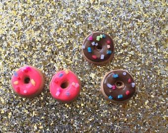 Cute Donut stud earrings Donut Earrings Sprinkle Donuts Donut Jewelry ~small