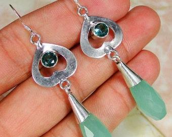 Earrings made of silver .925 Aqua Chalcedony
