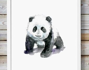 Panda art  baby panda Watercolor painting - Giclee Print - young panda bear  - Nursery Animal Painting -  illustration panda - Panda print