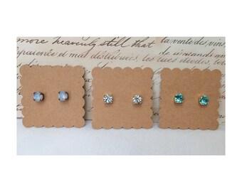 Blue/Periwinkle Swarovski Crystal Stud Earrings: Choose Your Color (8mm)