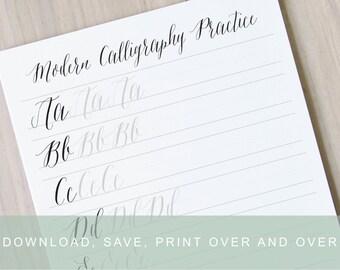 Modern Calligraphy Worksheet, Pointed Pen Calligraphy Alphabet Practice Guide, Learn Calligraphy Printable Modern Calligraphy Practice Sheet