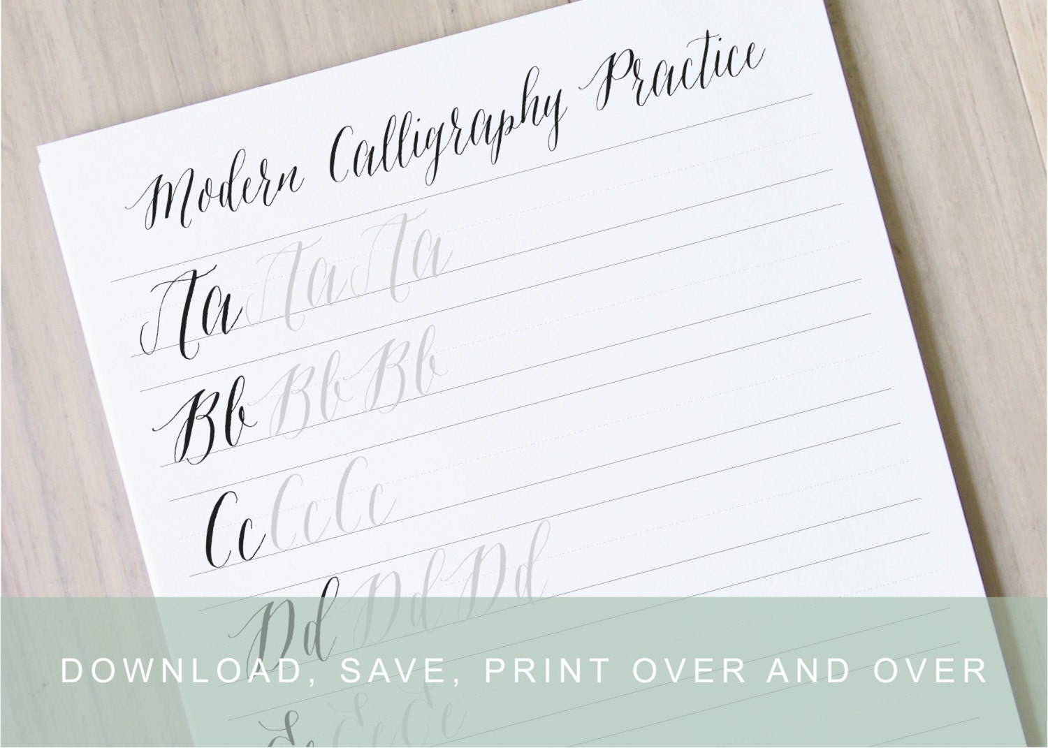 Modern calligraphy worksheet pointed pen alphabet