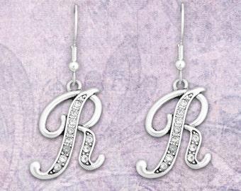 R Initial Earrings - 54351