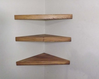 Set of 3 18 Inch Floating Corner Shelves with Custom Walnut Stain Handmade in the USA